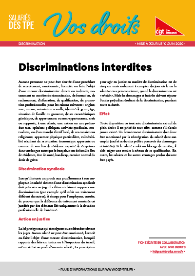 Dicriminations : Discriminations interdites