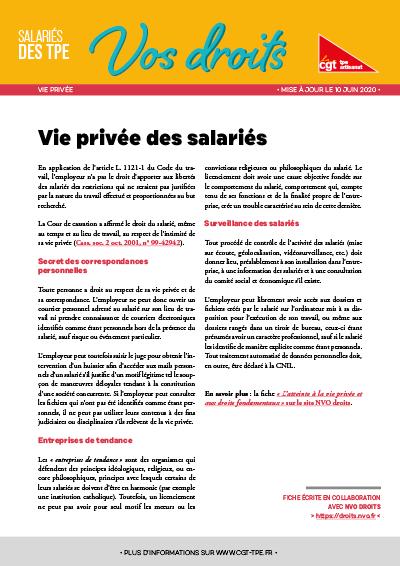 Vie privée : Vie privée des salariés