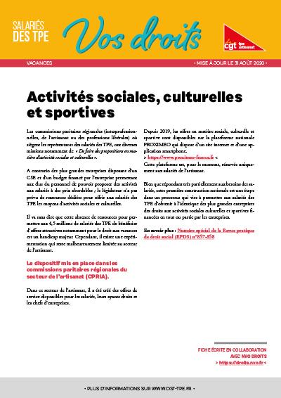 Vacances : Activités sociales, culturelles et sportives
