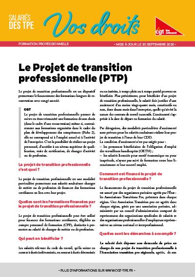 Formation : Projet de transition professionnelle
