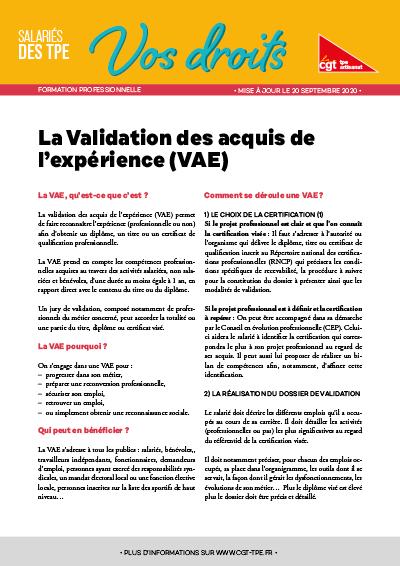 Formation : Validation des acquis et de l'expérience